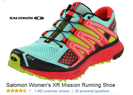 funky Salomon XR quicklace system running shoes for woman