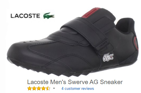 Lacoste Men's Swerve AG Sneaker with no laces.