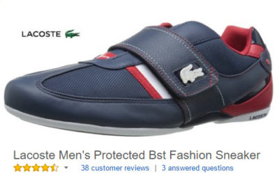 Lacoste Men's Protected Bst Fashion Sneaker with velcro closure