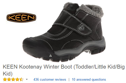 KEEN Kootenay Velcro winter boots for kids.
