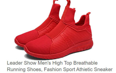 Leader Show red running shoes for men.